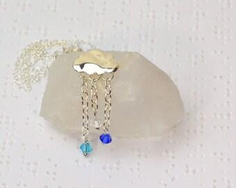 Rain Cloud Necklace, Rain Cloud Jewelry, Rain Drop Necklace, Rainy Necklace, Rain Necklace, Pacific Northwest Jewelry, Rain Jewelry, Stormy