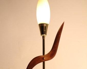 Make your offer ! SCULPTURAL TEAK table lamp vintage mid century 1960 era