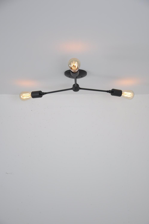 Ceiling Mounted Light Fixture Flush Mount Light Matte Black