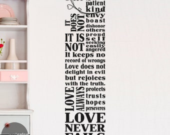 1 Corinthians 13 Subway Art Vinyl Wall Decal Sticker