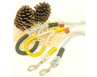 Chevron Rope dog leash. Chic Striped Chevron White and Gold/Silver climbing rope leash whipped with colorful cord,Gold or Khaki. Rope lead.