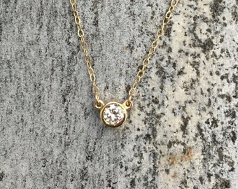 0.25 Carat Diamond Solitaire Bezel Set 14K Yellow Gold Necklace