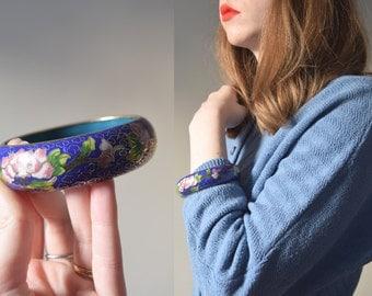 Antique Cloisonne Enamel Bracelet // Vintage Wide Chinese Flowering Sakura Bangle