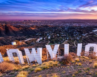 Hollywood Sign Panorama Photography Print Sunset over Los Angeles California Fine Art Wall Art Decor | Also Available on Canvas or Metal