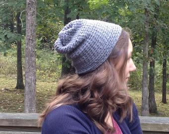 Gray Crochet Womens Slouchy Beanie