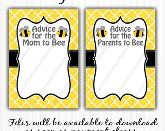 Mom to Bee Advice Card - Parents to Bee - Bee Theme - Baby Shower - Printable Decor - Digital Download - Mommy to Bee - Baby Sprinkle
