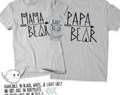 Papa Bear Baby Bear Mama Bear Shirt Gifts for Dads Christmas Gift Idea T Shirt Tee Daddy Mommy Mom Present Baby Shower Reveal Announcement