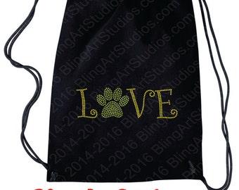 Rhinestone Backpack, Nylon Drawstring Backpack with Rhinestone Transfer, Bling Backpack, Sling Backpack, Backpack, Tote, Gift Idea #662