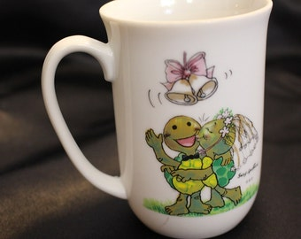Vintage Suzy Zoo Turtles Wedding Mug Childrens Mug 1976 Enesco Imports