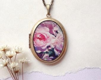 Pink Roses Locket - Spring Blush Blossoms - Botanical Brass Photo Locket Necklace