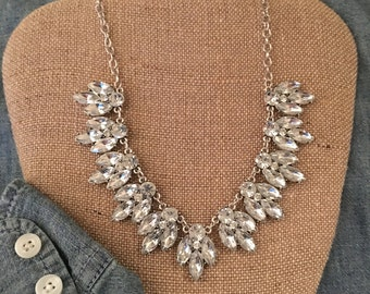 JCrew Inspired Vintage Bling Crystal Statement Necklace, Bib Necklace FREE SHIPPING!