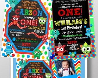 Monster birthday invitation, Monster mash birthday party decor, our little monster birthday party, monster 1st birthday invite, INVMSR01