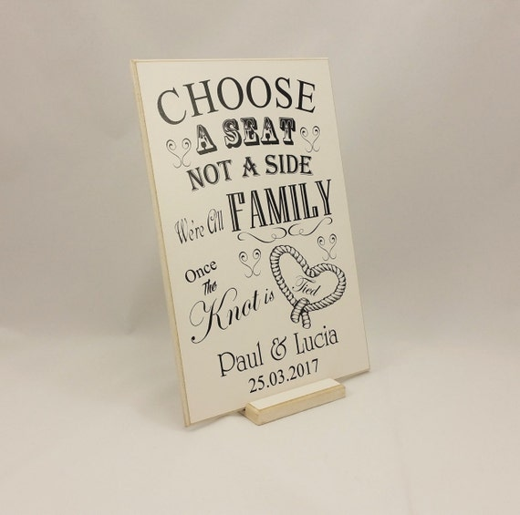 Personalised Wedding Sign Choose A Seat Not By Handmadeskproducts