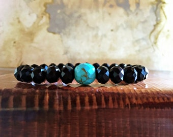 Crystal Beaded Bracelet with Turquoise Howlite Feature Bead