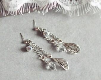 Dangle Earrings, Drop Earrings, Bridal Earrings, Chandelier Earrings, Bridesmaid Gift, Silver Earrings JEMMA - Dangling Pear Drops Earrings