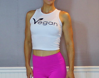 FTLA Apparel eco-HYBRID™ Spandex Jersey Fitted and Cropped Muscle Tank Vegan Leaf, Vegan Athlete, Vegan Tank Top, Vegan Top, Screen Printed