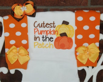 Baby Girl Pumpkin Outfit! *Cutest Pumpkin in the Patch* leg warmer outfit with applique top, leg warmers, and hair bow!