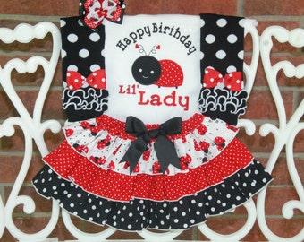 4 pc. Baby Girl Ladybug Birthday Outfit! Ladybug First Birthday Outfit/Little lady Birthday Outfit/Girls First Birthday Outfit with ladybug