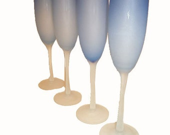 YARD SALE....4 Royal Blue Frosted Champagne Flutes