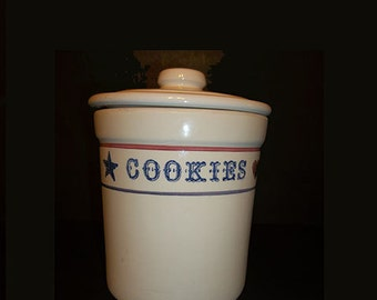 Crock Cookie Jar With Hearts and Stars