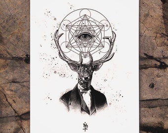 Psycho Deer the dreamcatcher, fine art screen printing