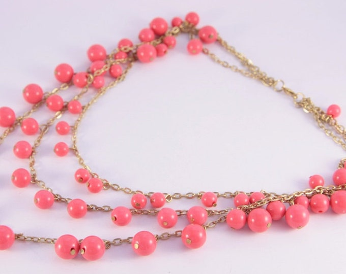 Multi Strand Pink Necklace Golden Chain Coral Pink Beads Vintage Necklace