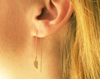 Gold Leaf Earrings, Gold Threader Earrings, Leaves Ear Thread Earrings, Tiny Leaves Dangle Earrings, Long Gold Earrings, Chain Earrings