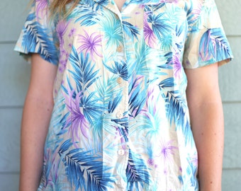 80s Pastel Hawaiian Button Up Tropical Palm Leaf Blouse