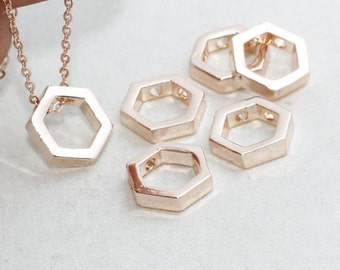 Rose Gold Hexagon Necklace , 10mm, Geometric Hexagon, Hexagon Jewelry , glt , ROSE16