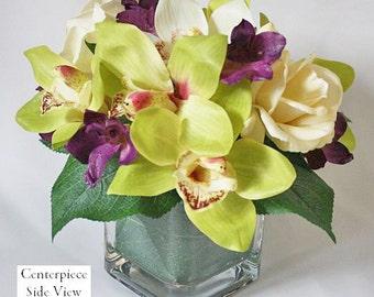 Green, purple, ivory, silk floral arrangement, wedding centerpiece, Real Touch flowers, cymbidium orchids, wedding, home decor, gift