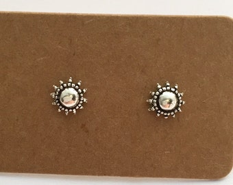 925 Sterling Silver Sun Stud Earrings, Minimalist, Boho, Sterling Silver, Sun Stud, Round , Sun Earrings, Silver Earrings, Stud, Silver, Sun