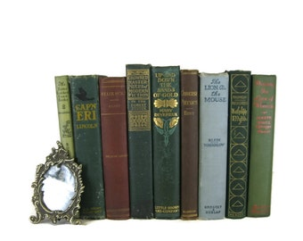 Green, Brown and Blue Vintage  Books ,  Antique Decorative Books , Wedding Prop , Photo Prop , Green Vintage Books , Old Books