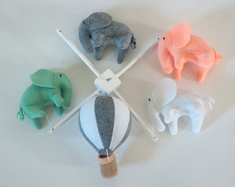 Elephant mobile, Hot Air Balloon mobile, baby crib mobile, Balloon Nursery Decor, Baby Shower Gift