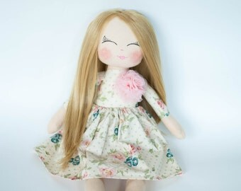 Cloth doll, fabric doll, rag doll, blonde hair, rag doll, birthday gift, christening gift, nursery decor, girls room decor