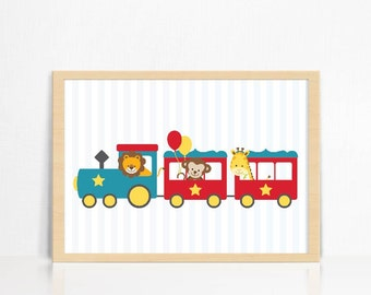 Train with Animals Print | Home Decor | Wall Print