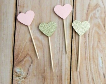 Blush and Gold Glitter Heart Cupcake Topper, Blush Pink Gold Wedding Cupcake Topper, Gold Birthday Party Pick, Blush Gold Heart Cake Dessert