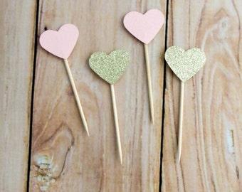 Blush and Gold Glitter Heart Cupcake Topper, Blush Pink Gold Wedding Cupcake Topper, Gold Birthday Party Pick, Blush Gold Heart Cake Dessert