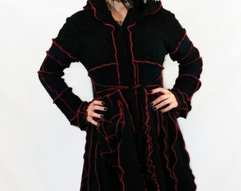 SPRING SALE Black w/ Red Thread, Wool Upcycled Sweater Coat, Size Medium, pixie