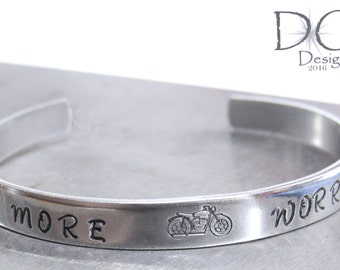 Engraved Quote Jewelry Gift for Women, Motorycle Gifts for Women, Biker Chick Jewelry, Aluminum Bracelet Engraved Gifts
