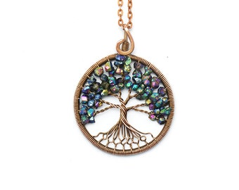 Tree-of-Life Pendant • Wire tree-of-life • Tree of Life Necklace • Family Tree • Wire wrapped pendant • Copper wire pendant • Blue pendant