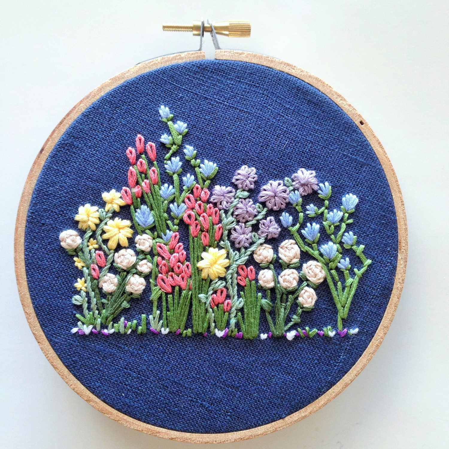 Hand embroidery pattern flower hoop