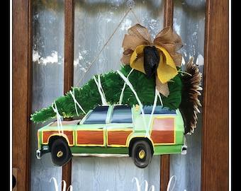 Christmas Door Hanger, Station Wagon Door Hanger, Christmas Vacation Door Hanger, Griswold Family Christmas Tree, Christmas Tree Door Hanger