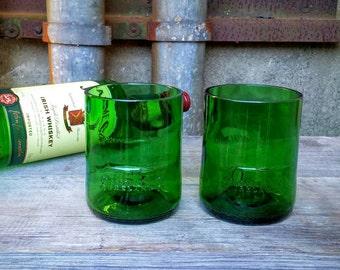Kelly Green Irish Whiskey Drinking Glasses From Recycled Jameson Bar Used Liquor Bottles