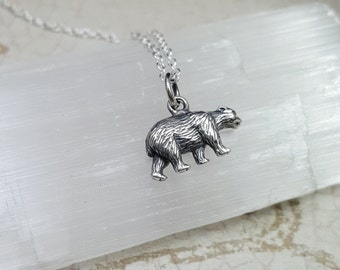 Bear necklace - Sterling Silver Bear charm necklace - Bear jewelry necklace - Polar Bear necklace - Brown bear - Black bear - bear jewelry