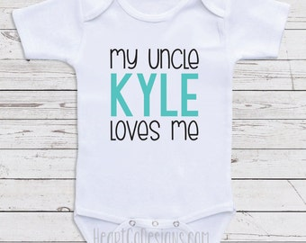 Custom baby clothes etsy personalized uncle baby clothes my uncle loves me custom baby clothes for boys negle Images