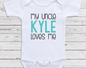 """Personalized Uncle Baby Clothes, """"My Uncle Loves Me"""" Custom Baby Clothes for Boys or Girls- Baby Shower Gifts, Baby Clothes  D40"""