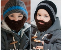PATTERN: Crochet Beard Hat pattern with detachable beard - sizes newborn-10 years - PDF - Instant Download