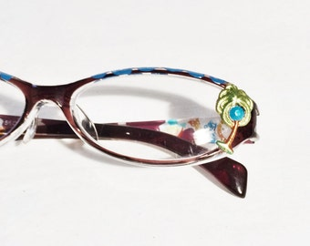 Palm Tree Hand Painted Reading Glasses +1.75, Women, Beach lover,