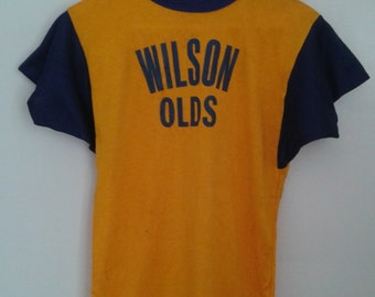 Vintage 1960's Empire Rayon Athletic Shirt Jersey Blue Yellow Gold Wilson Olds Sz Med Collector's Item Sports