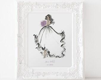 Bridal Shower Gift for Bride / Gift for Bride from Bridesmaid / Wedding Gifts for Bride Custom Bride Illustration Bridal Shower Decorations